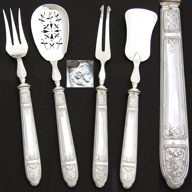 Antique French Sterling Silver 4pc Hors d'Oeuvres Serving Implement Set
