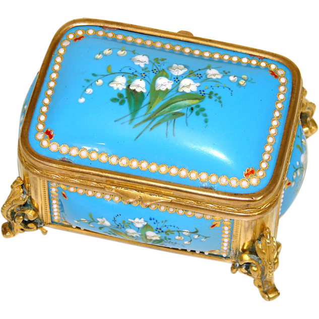 "Antique French Kiln-Fired Enamel 4"" Jewelry Casket, Bell FLowers, 'Jewels' & Gilt Ormolu"