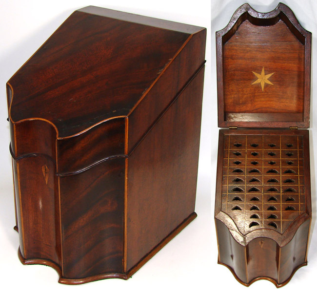 Antique Georgian Era Cutlery or Knife Box, Beautiful Shape w/ Rosewood Veneers & Complete Fitted Interior