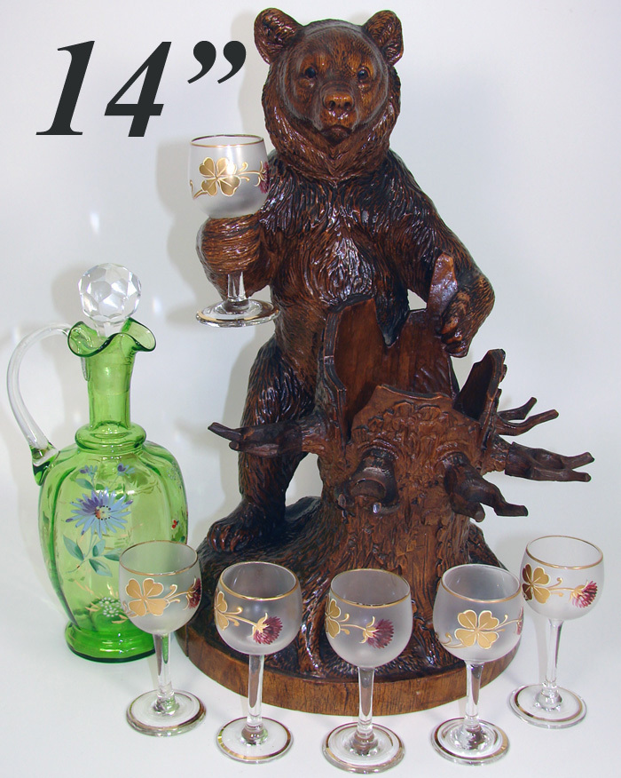 "HUGE Antique Black Forest Bear 14"" Tall, is a Liqueur Stand, Bar, Decanter & 6 Cordials"