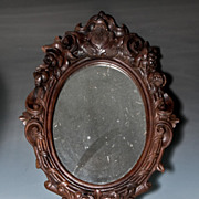 """Antique Victorian Era Hand Carved Wood Black Forest Frame with """"E R"""" Royal Monogram Cartouche, Mirror"""