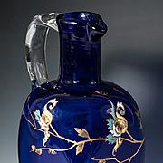 Elegant Antique French Decanter, HM Cobalt Blue Glass Carafe with Enamel, Napoleon III