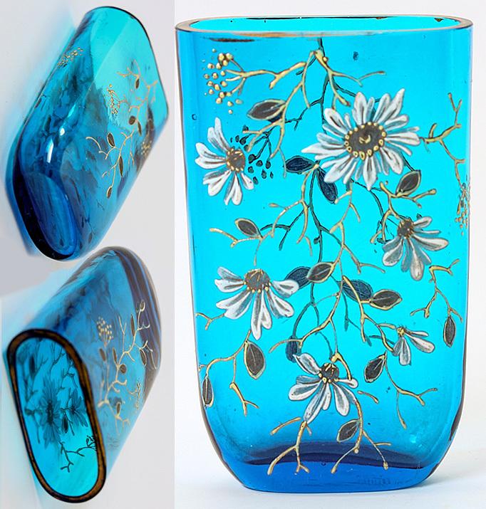 Antique French Electric Blue Opaline Glass Traveler's Cup or Tumbler, Enamel - Napoleon III Era