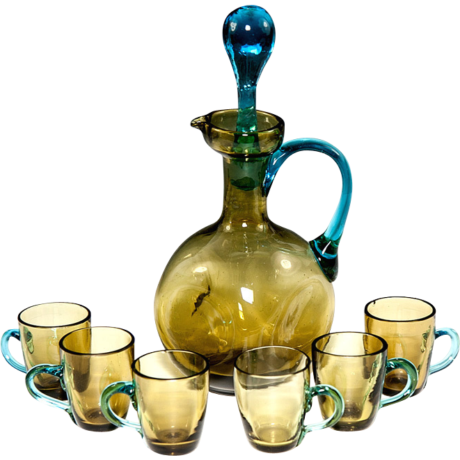 Antique French Blown Colored Glass Liqueur Carafe, Decanter & 6 Cups, George Sand