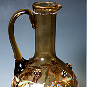 Antique French Carafe, Colored and Enameled Glass Decanter, c. 1890.
