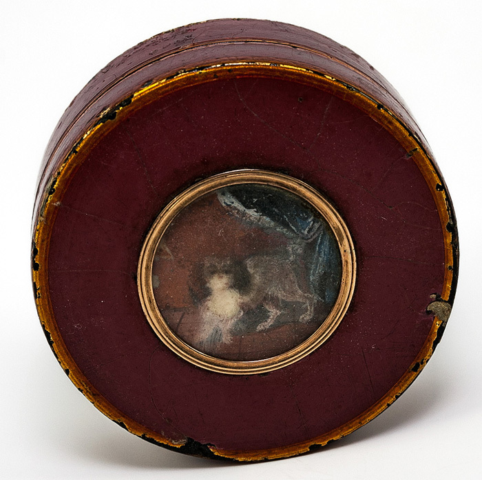 Antique French Snuff Box, 1700s Vernis Martin and 18k Gold with Miniature Painting Portrait of a Dog