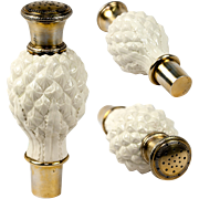 Antique French Sugar Shaker, Powder in Porcelain and Sterling Silver Vermeil, Pineapple Motif