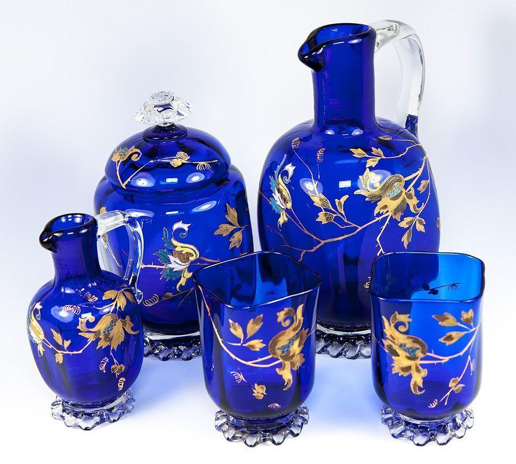 Exceptional Antique French Absinthe Decanter Set, 2 Goblets, Raised Gold Enamel, Cobalt Blue