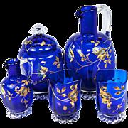 Exceptional Antique French Absinthe Decanter Set, 2 Goblets, Raised Gold Enamel, Cobalt Blue