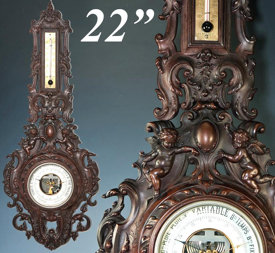 RARE Antique French Gutta Percha Frame Barometer, Thermometer