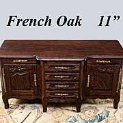 Antique French Miniature Buffet, Apprentise Chest or Doll Furniture in Oak