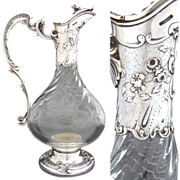 "Elegant Antique French Sterling Silver & Cut Glass 11"" Claret Jug, Rococo Styling & Spiral Cut Body"