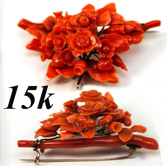 Superb Antique Victorian Carved Red Coral Brooch, Floral & 15K Gold