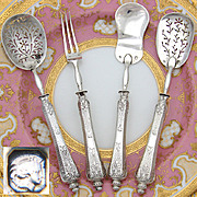 Antique French Sterling Silver 4pc Hors d'Oeuvre Set, Guilloche Style Pattern & Fitted Box