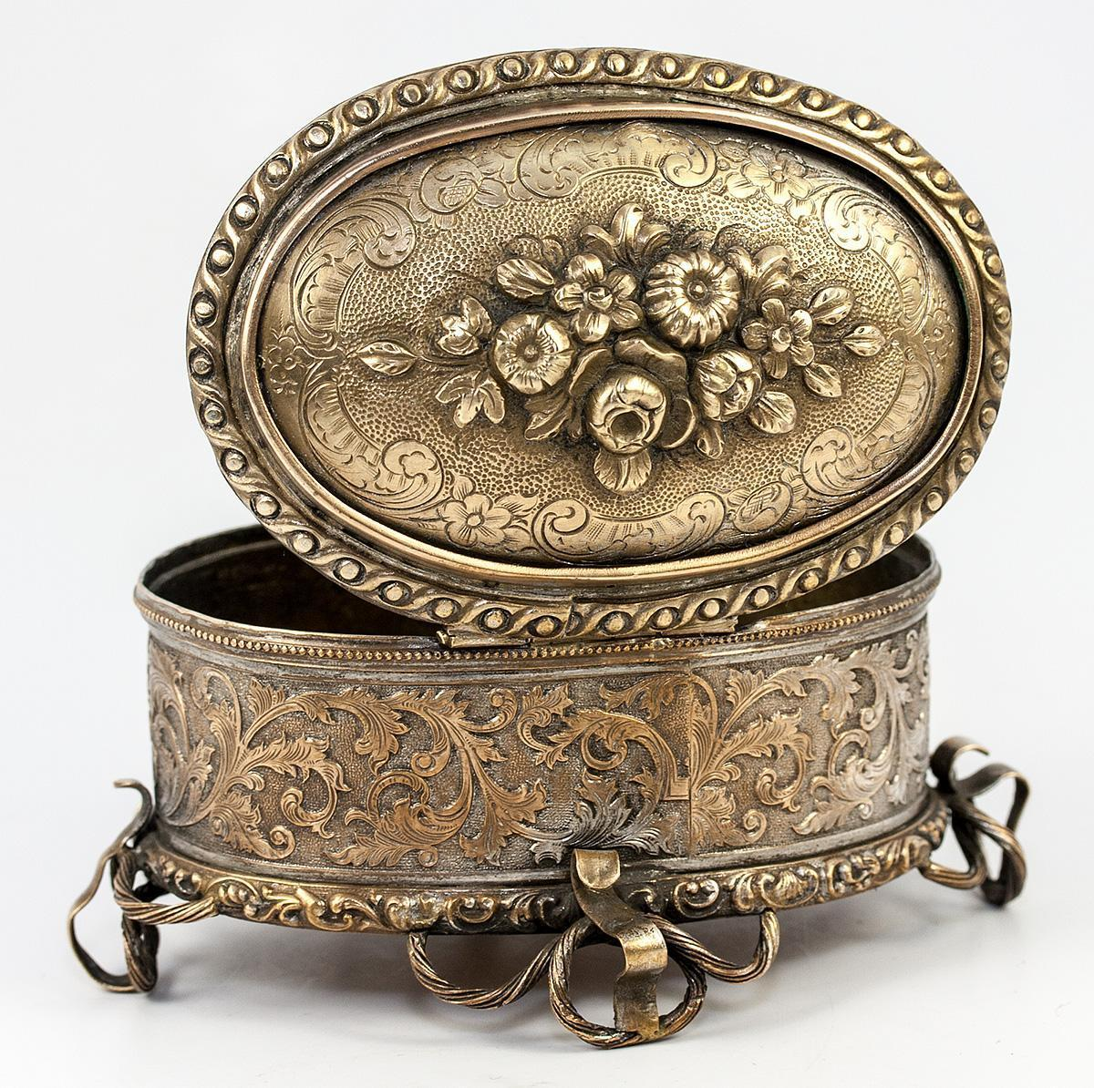 Antique Italian or French Jewelry Casket, 19th c. Box, Acid Intaglio Etched Design