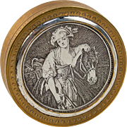 Fab Antique French Pill or Patch Box, Engraved with Art by Jean-Baptiste Greuze:  The Milkmaid,