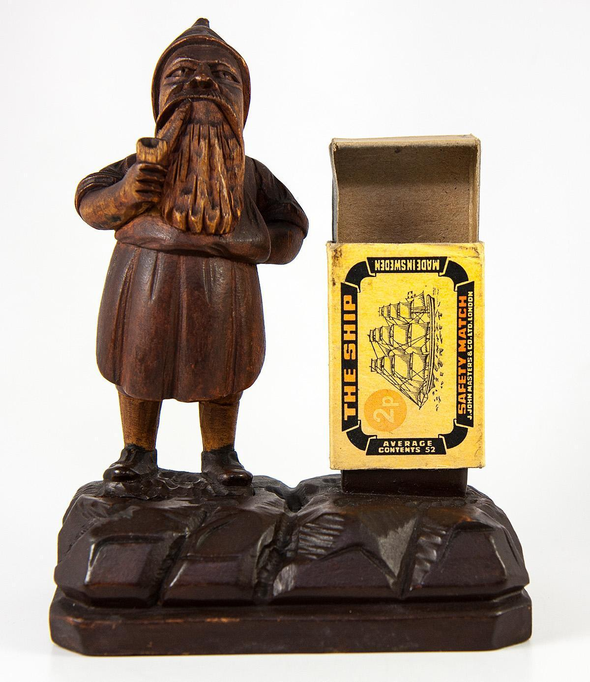 Antique Black Forest Gnome Match Stand, Hand Carved c. 1880