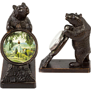 Antique Hand Carved Black Forest Bear Pocket Watch Stand, Miniature Painting, Too!  WOW.