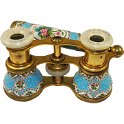 Antique French Sevres Kiln-fired Enamel Opera Glasses, Binoculars, Long Lorgnette Handle, too