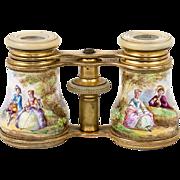 Antique French Kiln-Fired Enamel Opera Glasses, Binoculars, Romantic Scenes a' la Boucher