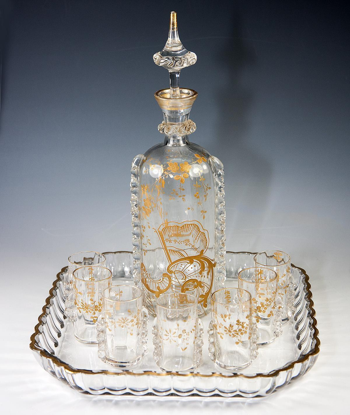Superb Antique French Cabaret, Liqueur Set by Saint Louis Crystal, Raised Gold Enamel