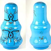 Elegant Napoleon III Era French Blue Opaline Bonne Nuit, Decanter and Tumbler (Tumble-up), c. 1860