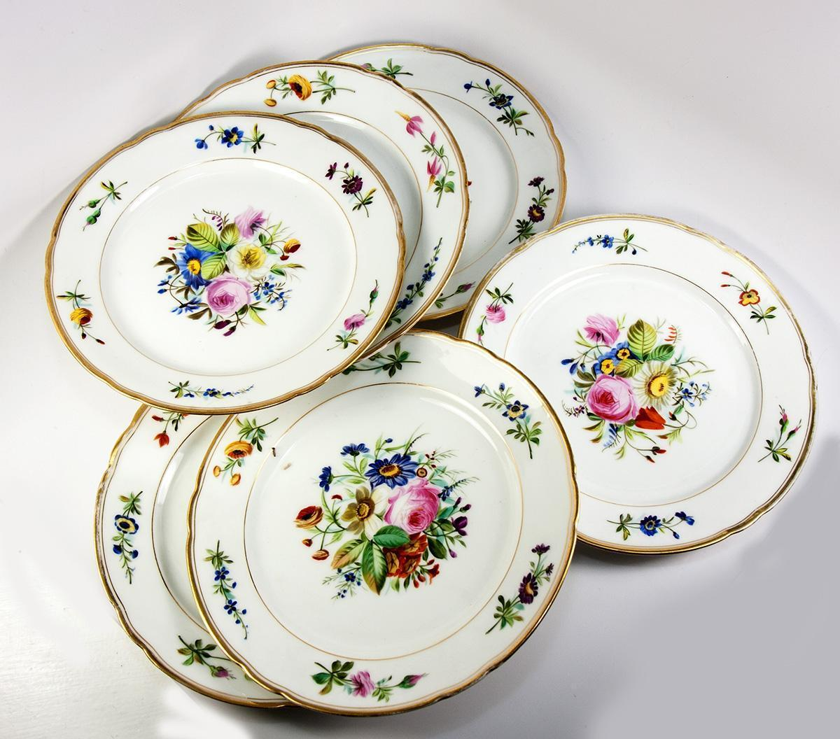 Set of 6 Antique French Old Paris Porcelain Plates, Hand Painted Bouquets, Superb!