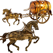 Whimsical 19th C. Antique French Palais Royal Horse, Carriage is likely Cigar Holder, Ashtray