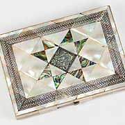 Antique Mother of Pearl Parquet Calling Card Case, Wallet Size or Evening Purse, English