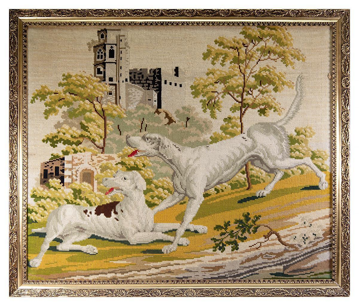 "RARE Huge Antique Victorian Needlepoint Tapestry Sampler of 2 Hounds & a Castle, 30"" x 26"" in Frame"