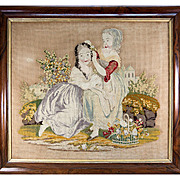 "Charming Large Georgian to Victorian Era Needlepoint, Needlework Canvas in Frame, 2 Girls, 29.75"" x 25.75"" Frame"