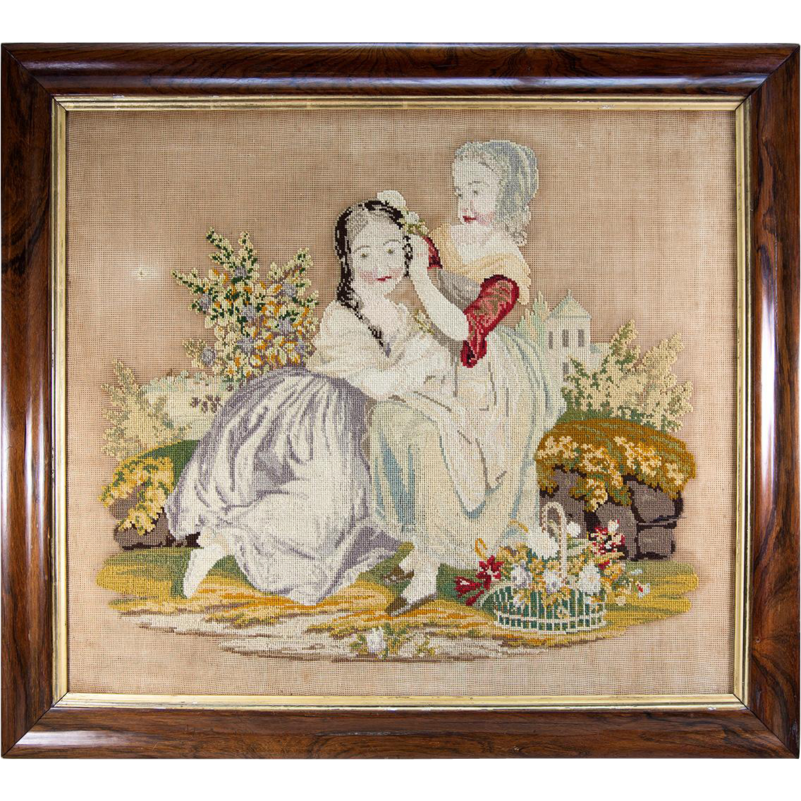 charming large georgian to victorian era needlepoint  needlework from antiques