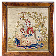 "Fine Victorian Needlepoint Tapestry , Girls and Parrot in Original c.1840s Frame, 19"" x 18.25"""