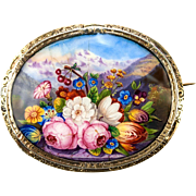 Antique French Kiln-fired Enamel Brooch, Florals and Mountains
