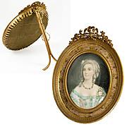 Fine Antique French Portrait Miniature in Dore Bronze Frame, Vellum, Mme Du Barry