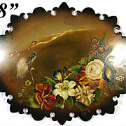 "Rare LG Antique Victorian Era Papier Mache 18x14"" Firescreen, Fire Screen Panel with Hand Painted Flowers & Exotic Bird"