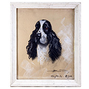 Antique French Pastel Chalk Drawing Portrait of a Spaniel, Dog, in Frame c. 1900, Artist Signed