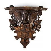 Antique Black Forest Bracket Shelf, Wall or Clock Shelf, Hand Carved Dog