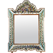 "RARE 20"" x 14"" Antique Micromosaic Wall Mirror Frame, HUGE, Victorian Micro Mosaic"