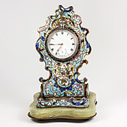 Antique French Champleve Enamel Pocket Watch Stand, Holder for Chain