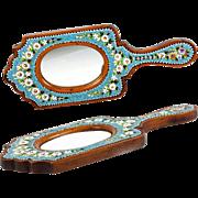 Antique Victorian Micromosaic & Wood Frame, Hand Mirror, Micro Mosaic