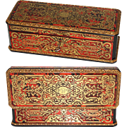 "Rare Antique French Boulle 10.5"" Desk Casket, Ornate Inlays on all Sides, Marked VERVELLE Piece"
