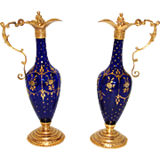 Gorgeous RARE Antique French Charles X Era PAIR of Cobalt Blue Glass & Gilt Ormolu Claret Jugs or Ewers, Figural Stoppers & Handles