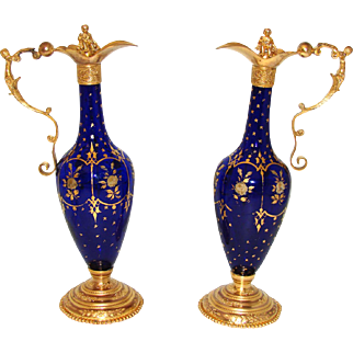 SALE Gorgeous RARE Antique French Charles X Era PAIR of Cobalt Blue Glass & Gilt Ormolu Claret Jugs or Ewers, Figural Stoppers & Handles