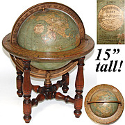 "Fab Vintage W & AK Johnston, Edinburgh, 15"" Tall Terrestrial Globe, Turned Wood Stand"