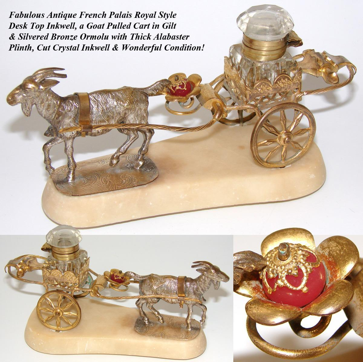 Charming Antique French Palais Royal Inkwell, Goat Pulled Cart with Pink Opaline Accent