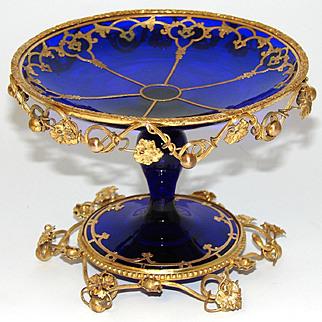 "Gorgeous Antique French Charles X to Napoleon III Era Cobalt Glass & Gilt Bronze 5"" Tazza, Bonbon or Candies Dish"