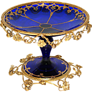 "Gorgeous Antique French Charles X to Napoleon III Era Cobalt Glass & Gilt Bronze 5"" Tazza, Bonbon or Candies Dish"