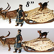 "RARE Antique Vienna Bronze 8"" Inkwell, a Reindeer Pulled Sleigh or Sled with Driver & DOG"