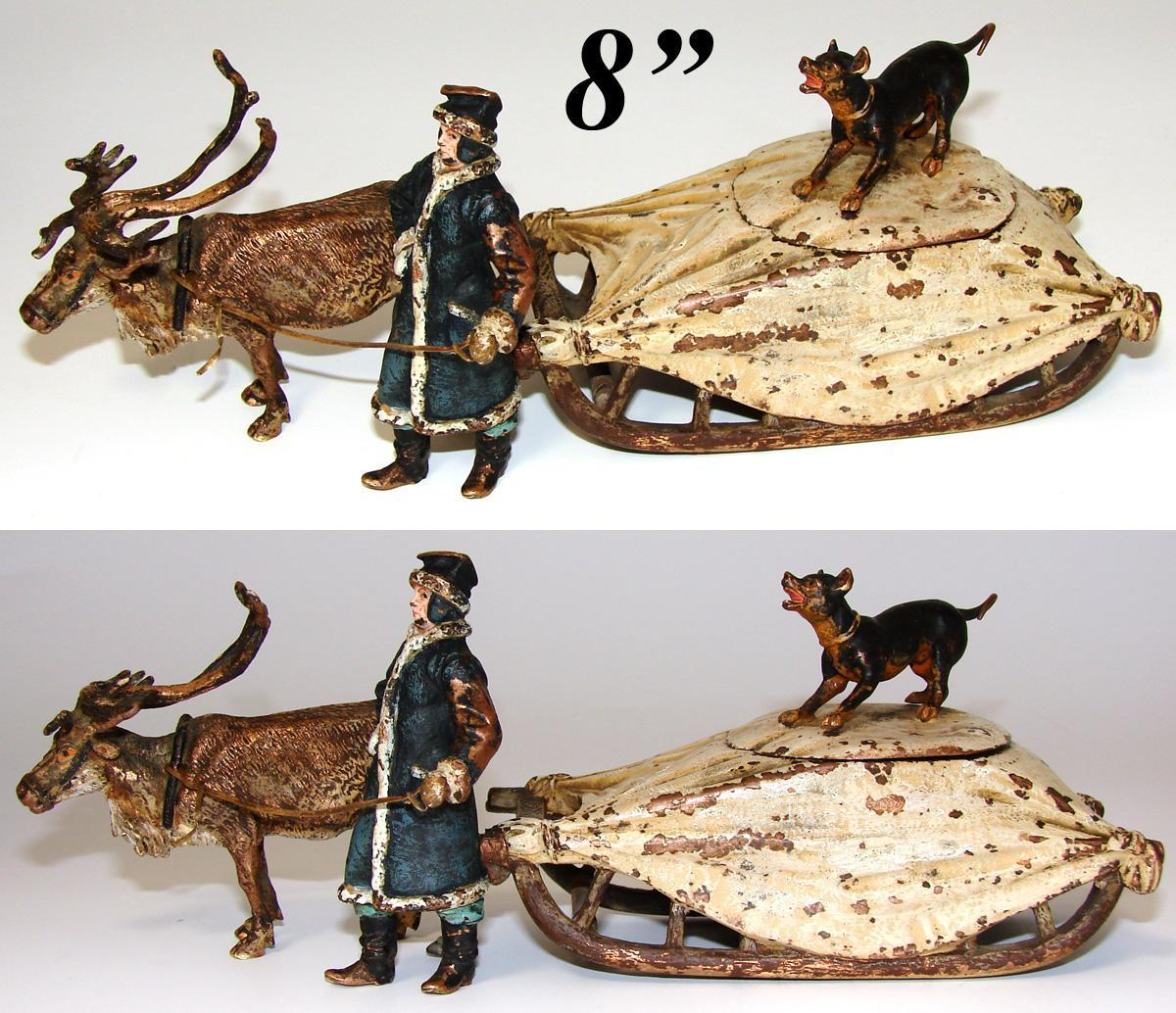 """RARE Antique Vienna Bronze 8"""" Inkwell, a Reindeer Pulled Sleigh or Sled with Driver & DOG"""